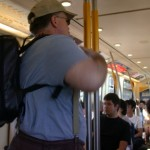 Traveling to the Skytrain on a bus
