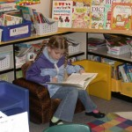 Fiona reading in the classroom