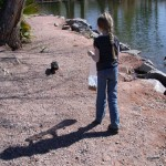 Fiona feeds the ducks