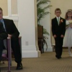 Fiona and Wyatt walking down the aisle